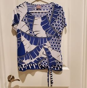 Easy wear by chico's size 1 blue tie blouse